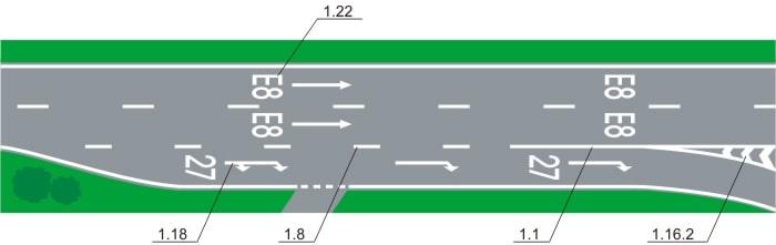 горизонтальная дорожная разметка 1